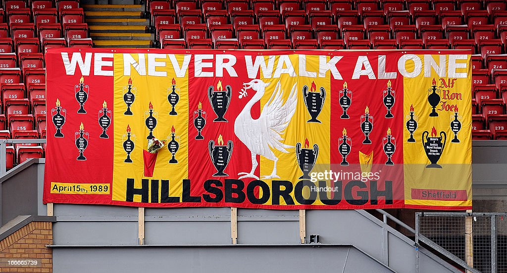 In this handout image provided by Liverpool FC, a banner in memory of the victims is hung from the side of the Kop during the 24th Hillsborough Anniversary Memorial Service at Anfield on April 15, 2013 in Liverpool, England. Thousands of fans, friends and relatives took part in the service at Liverpool's Anfield Stadium to mark the 24th anniversary of the Hillsborough disaster. A total of 96 Liverpool supporters lost their lives during a crush at an FA Cup semi final against Nottingham Forest at the Hillsborough football ground in Sheffield, South Yorkshire in 1989.