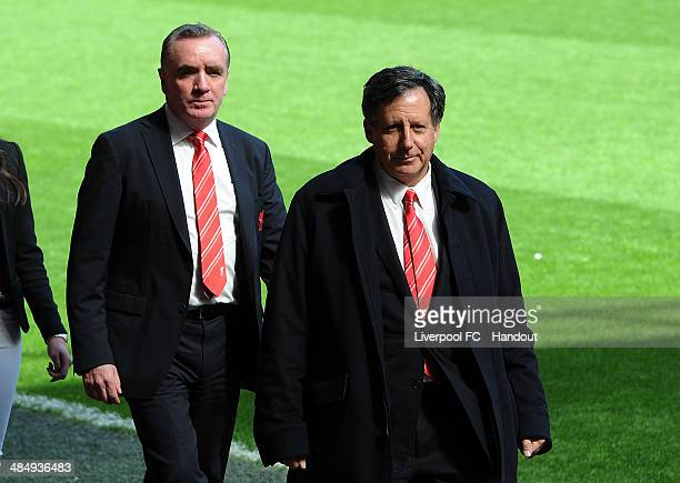 In this handout image provided by Liverpool FC Chairman Tom Werner and Managing Director Ian Ayre attend the 25th Hillsborough Anniversary Memorial...