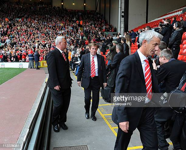 In this handout image provided by Liverpool FC Former footballer Ian Rush and Manager Kenny Dalglish of Liverpool FC is seen arriving to attend the...