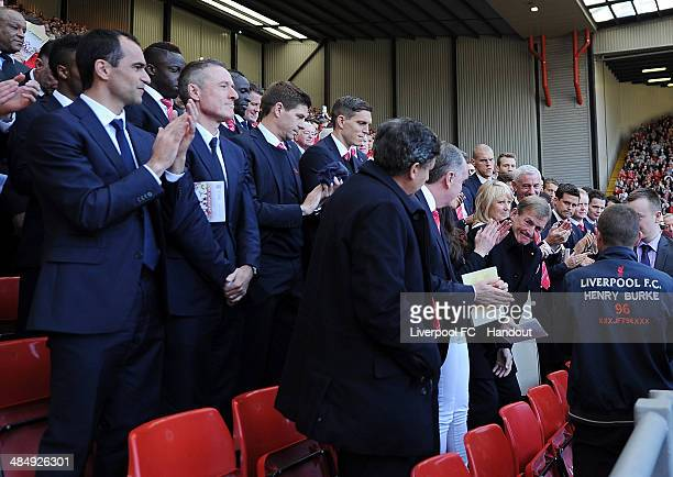 In this handout image provided by Liverpool FC Kenny Dalglish of Liverpool is honoured during the 25th Hillsborough Anniversary Memorial Service at...