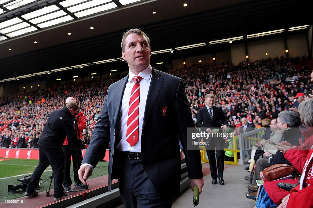 In this handout image provided by Liverpool FC, Manager <a gi-track='captionPersonalityLinkClicked' href=/galleries/search?phrase=Brendan+Rodgers+-+Soccer+Manager&family=editorial&specificpeople=5446684 ng-click='$event.stopPropagation()'>Brendan Rodgers</a> of Liverpool attends the 24th Hillsborough Anniversary Memorial Service at Anfield on April 15, 2013 in Liverpool, England. Thousands of fans, friends and relatives took part in the service at Liverpool's Anfield Stadium to mark the 24th anniversary of the Hillsborough disaster. A total of 96 Liverpool supporters lost their lives during a crush at an FA Cup semi final against Nottingham Forest at the Hillsborough football ground in Sheffield, South Yorkshire in 1989.