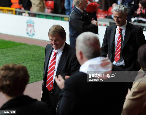 In this handout image provided by Liverpool FC Manager Kenny Dalglish of Liverpool FC and former Liverpool footballer Ian Rush are seen arriving to...