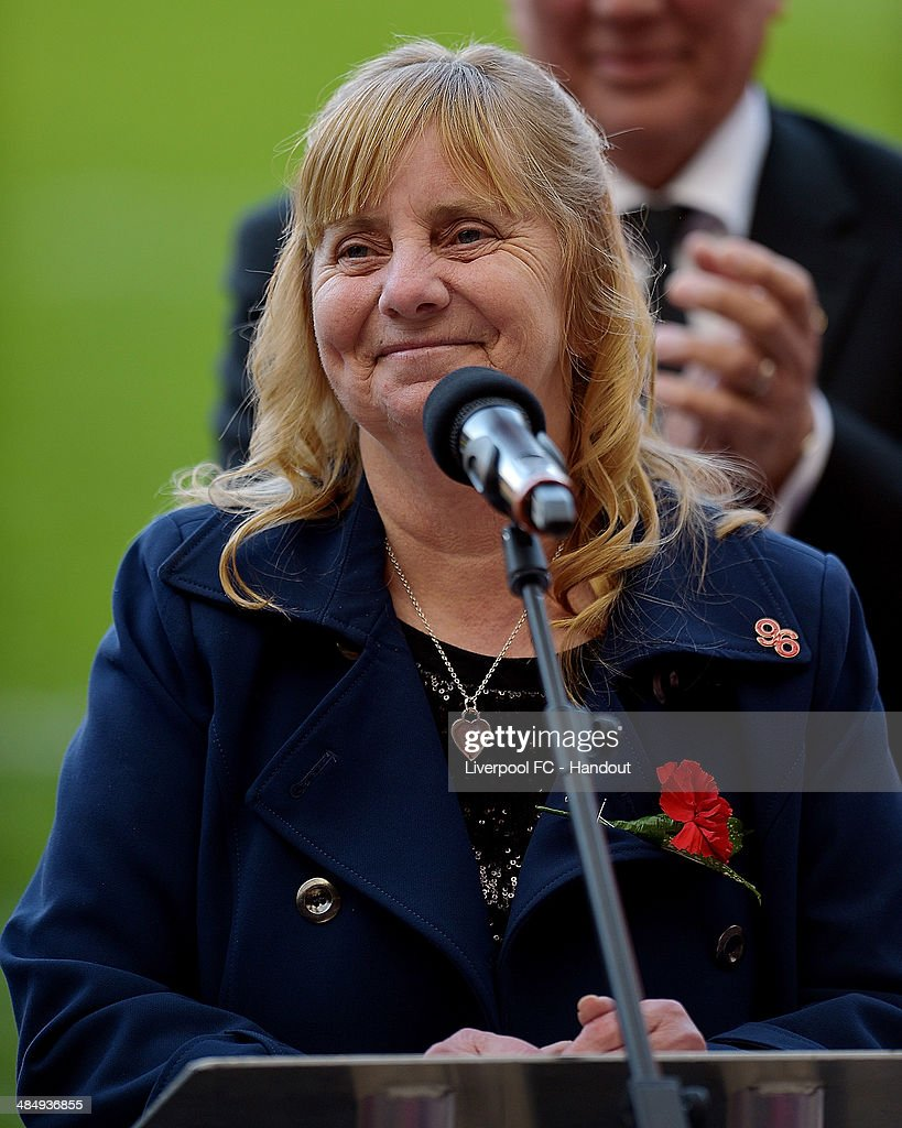 In this handout image provided by Liverpool FC, Margaret Aspinall of Liverpool during the 25th Hillsborough Anniversary Memorial Service at Anfield on April 15, 2014 in Liverpool, England.