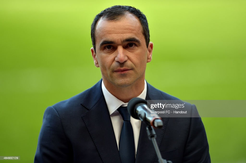 In this handout image provided by Liverpool FC, Roberto Martinez manager of Everton makes a speech during the 25th Hillsborough Anniversary Memorial Service , at Anfield on April 15, 2014 in Liverpool, England.