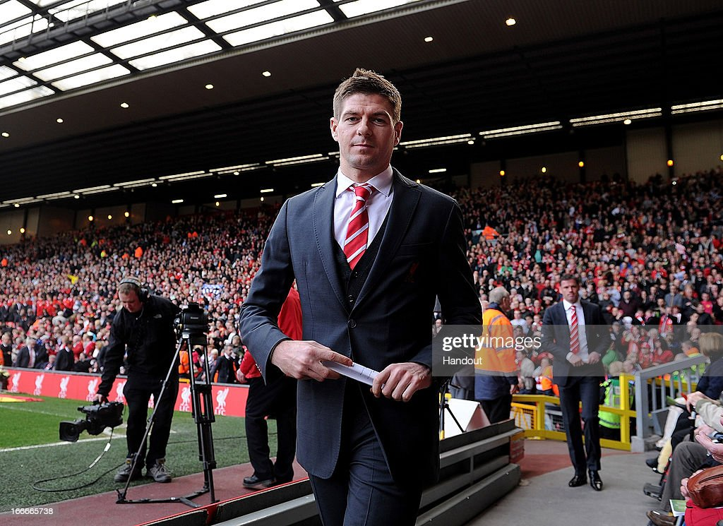 In this handout image provided by Liverpool FC, <a gi-track='captionPersonalityLinkClicked' href=/galleries/search?phrase=Steven+Gerrard&family=editorial&specificpeople=202052 ng-click='$event.stopPropagation()'>Steven Gerrard</a> of Liverpool attends the 24th Hillsborough Anniversary Memorial Service at Anfield on April 15, 2013 in Liverpool, England. Thousands of fans, friends and relatives took part in the service at Liverpool's Anfield Stadium to mark the 24th anniversary of the Hillsborough disaster. A total of 96 Liverpool supporters lost their lives during a crush at an FA Cup semi final against Nottingham Forest at the Hillsborough football ground in Sheffield, South Yorkshire in 1989.
