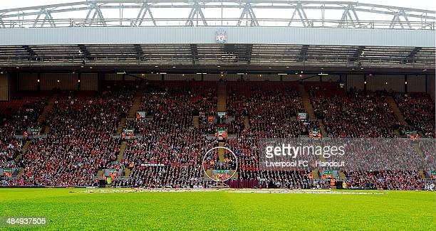 In this handout image provided by Liverpool FC the band of Life during the 25th Hillsborough Anniversary Memorial Service at Anfield on April 15 2014...