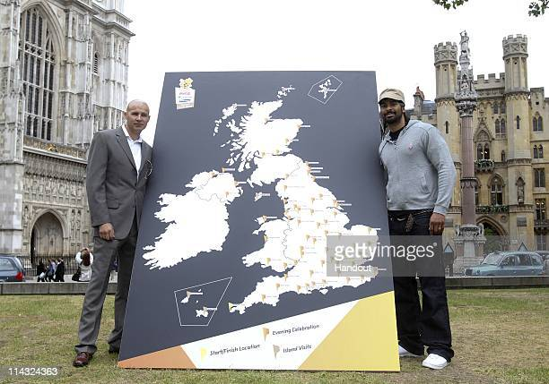In this handout image provided by LOCOG Paddy Fitzpatrick and boxer David Haye pose with a map of the United Kingdom during the launch of a 'Moment...