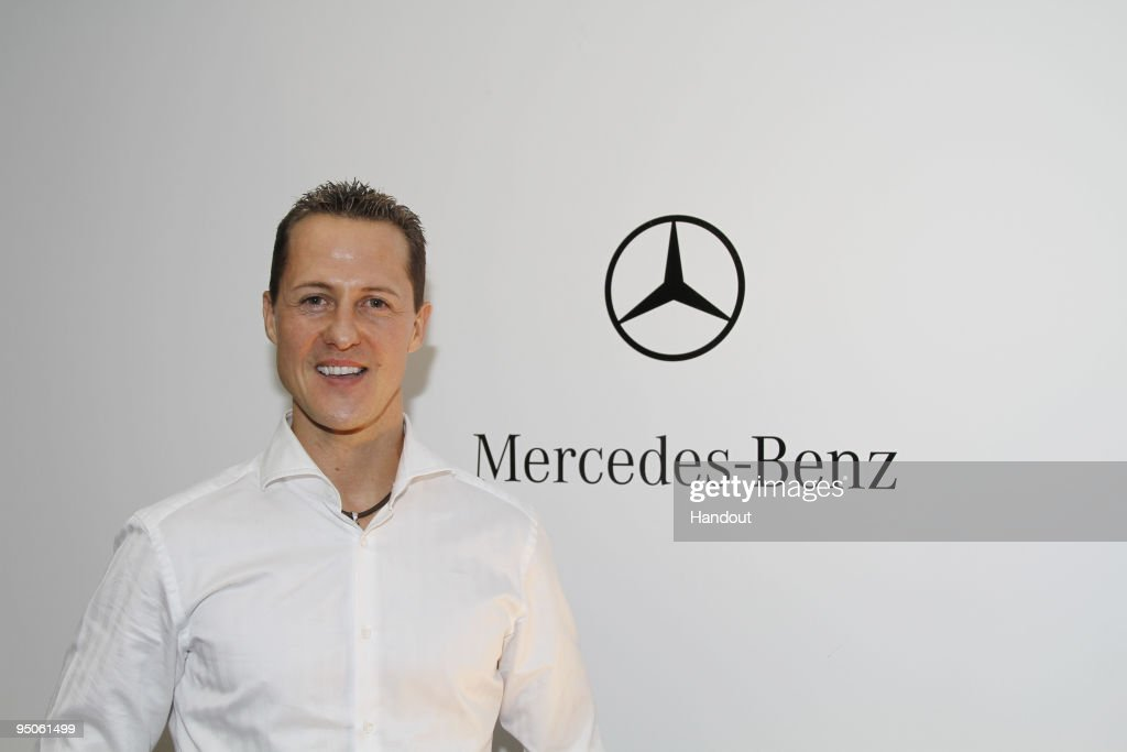 In this handout image provided by Mercedes GP, <a gi-track='captionPersonalityLinkClicked' href=/galleries/search?phrase=Michael+Schumacher&family=editorial&specificpeople=157602 ng-click='$event.stopPropagation()'>Michael Schumacher</a> poses on December 23, 2009 in Brackley, England. The Mercedes GP Petronas Formula One team have confirmed that 7-times Formula One World Champion <a gi-track='captionPersonalityLinkClicked' href=/galleries/search?phrase=Michael+Schumacher&family=editorial&specificpeople=157602 ng-click='$event.stopPropagation()'>Michael Schumacher</a> will make his racing return in 2010 with the Silver Arrows team.