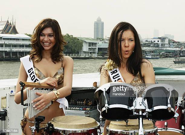 In this handout image provided by Miss Universe LP LLLP Rusudan Bochoidze Miss Georgia Universe and Natalia Nikolaeva Miss Russia Universe pose...