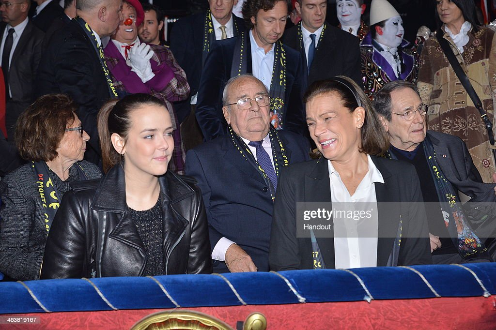 In this handout image provided by Monaco Centre de Presse, Pauline Ducruet (L) and Princess Stephanie of Monaco attend the 38th International Circus Festival on January 19, 2014 in Monte-Carlo, Monaco.
