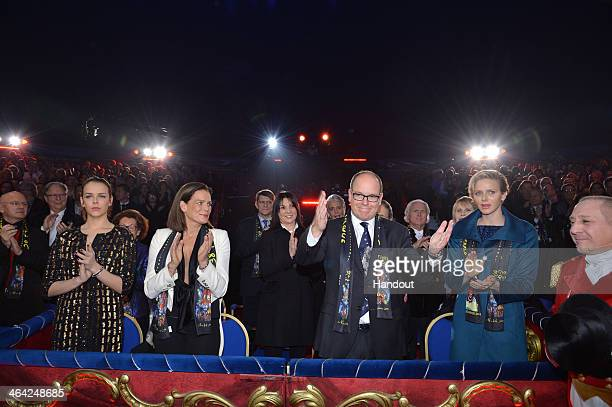 In this handout image provided by Monaco Centre de Presse Pauline Ducruet Princess Stephanie of Monaco Prince Albert II of Monaco and Princess...