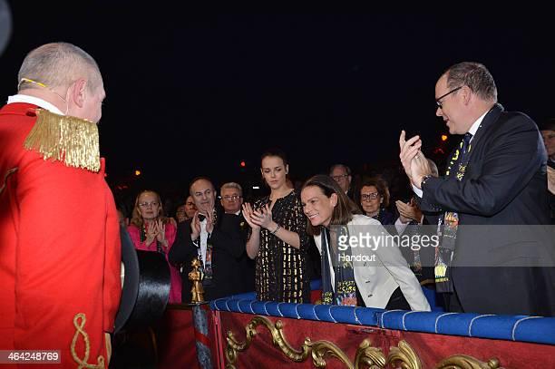 In this handout image provided by Monaco Centre de Presse Pauline Ducruet Princess Stephanie of Monaco and Prince Albert II of Monaco attend the 38th...