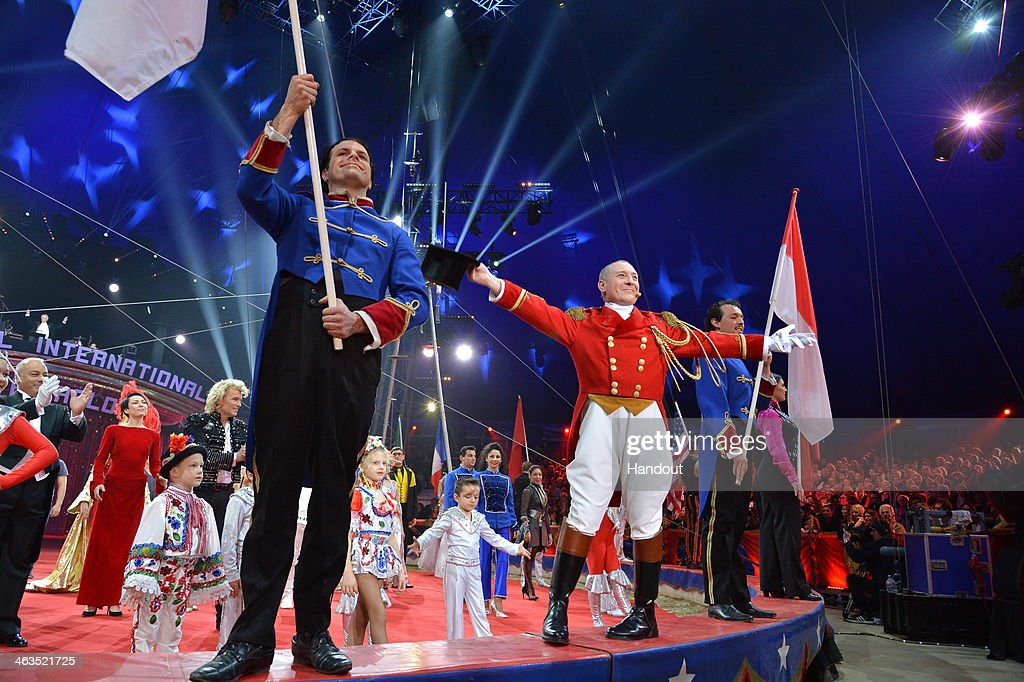 In this handout image provided by Monaco Centre de Presse, performers take part in the 38th International Circus Festival on January 17, 2014 in Monte-Carlo, Monaco.
