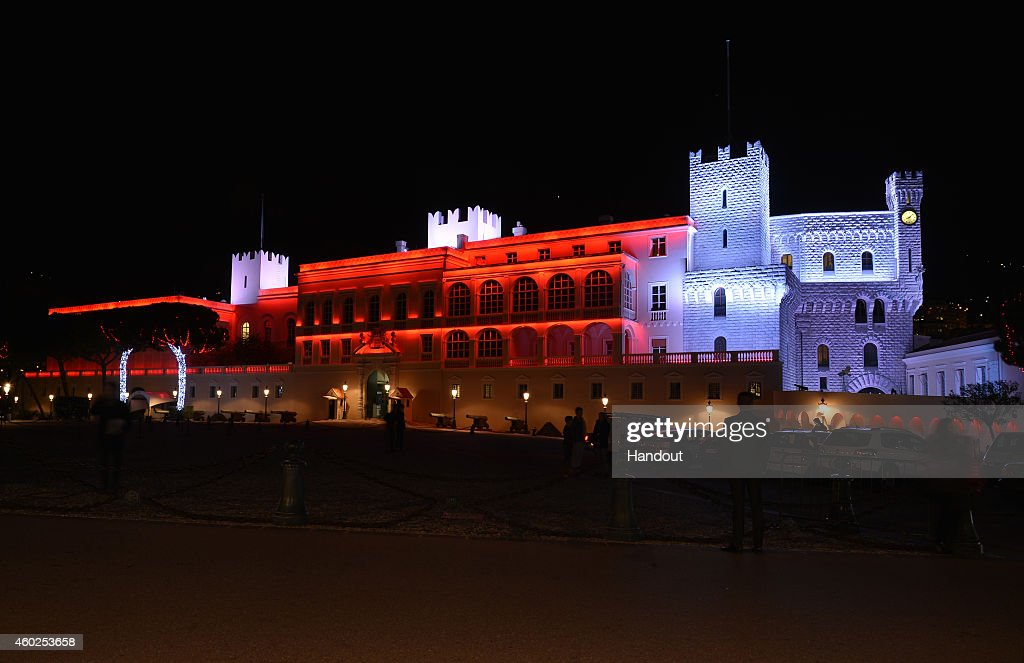 In this handout image provided by Monaco Centre de Presse The Palace of Monaco is lit up as Princess Charlene Of Monaco And Prince Albert II Of...
