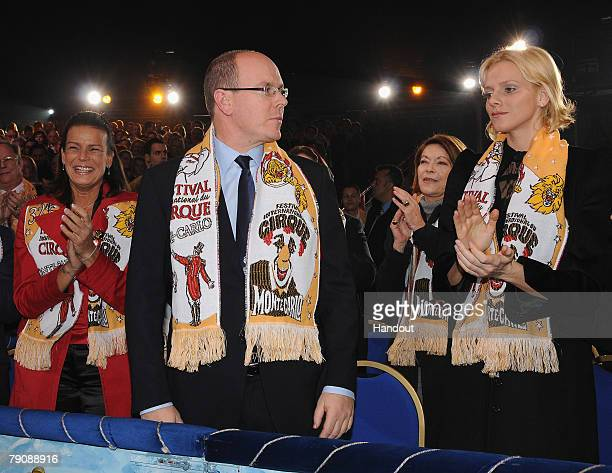 In this handout image provided by Monaco Palace Princess Stephanie of Monaco Prince Albert II of Monaco and Charlene Wittstock attend the 32nd...
