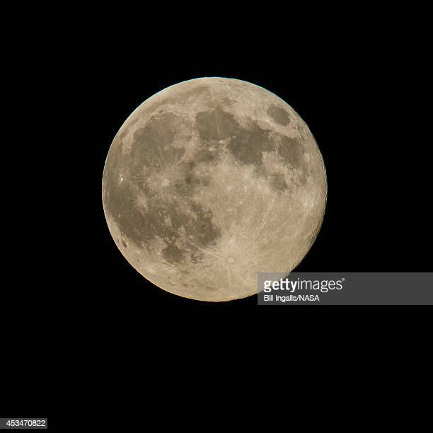 In this handout image provided by NASA a perigree full moon or supermoon is seen on August 10 2014 in Washington DC Tonight's supermoon or perigee...