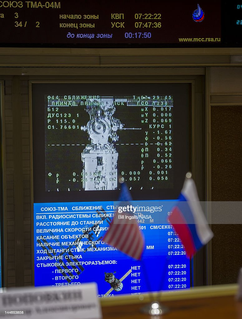 In this handout image provided by NASA, a television screen as seen from the balcony of the Russian Mission Control Center, and showing the Soyuz TMA-04M as it docks to the International Space Station on May 17, 2012 in Korolev, Russia. Onboard the soyuz spacecraft are Expedition 31 Soyuz Commander Gennady Padalka, Flight Engineer Sergei Revin, and NASA Flight Engineer Joe Acaba. The crew of three launched at 9:01 a.m. Kazakhstan time on Tuesday, May 15 from the Baikonur Cosmodrome in Kazakhstan.