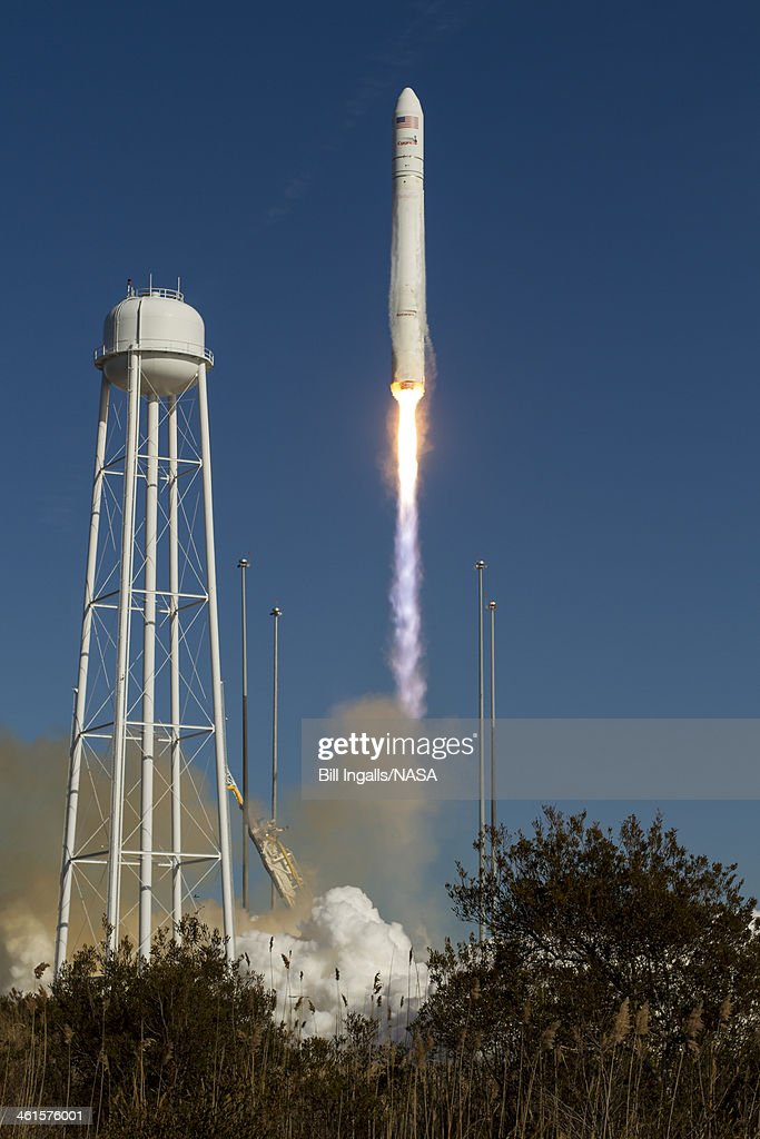 In this handout image provided by NASA, an Orbital Sciences Corporation Antares rocket launches from Pad-0A at NASA's Wallops Flight Facility January 9, 2014 at Wallops Island, Virginia. Antares is carrying the Cygnus spacecraft in Orbital Sciences' first cargo resupply mission for NASA. Cygnus is carrying science experiments, crew provisions, spare parts and other hardware to the space station.