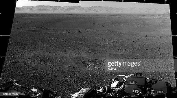 In this handout image provided by NASA and released on August 8 are the first two fullresolution images of the Martian surface from the Navigation...
