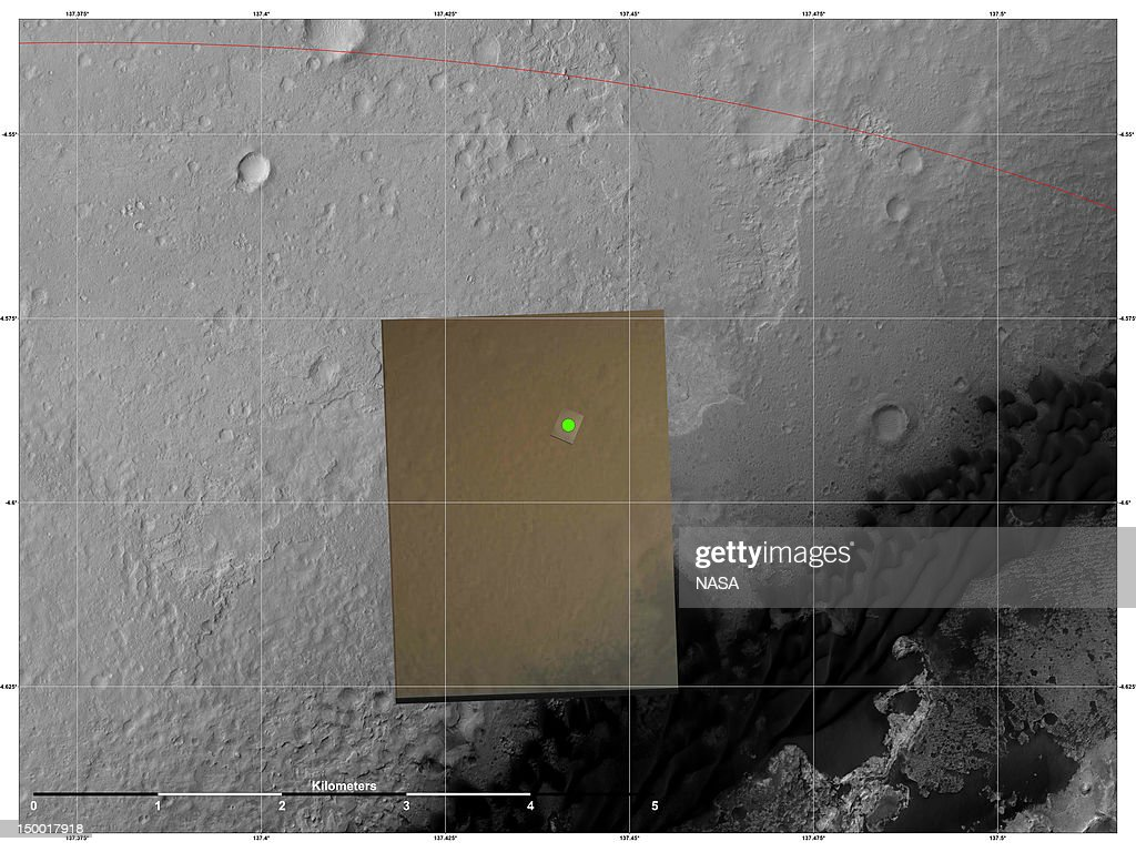 In this handout image provided by NASA and released on August 8, 2012, this is the location (green) where scientists estimate NASA's Curiosity rover landed on Mars within Gale Crater, based on images from the Mars Descent Imager (MARDI). The landing estimates derived from navigation and landing data agree to within 660 feet (200 meters) of this MARDI estimate. The red line shows the northern edge of the targeted landing region, a probability distribution defined by an ellipse. The gray scale image is a mosaic from the HiRISE camera on NASA's Mars Reconnaissance Orbiter. The color image is from MARDI.
