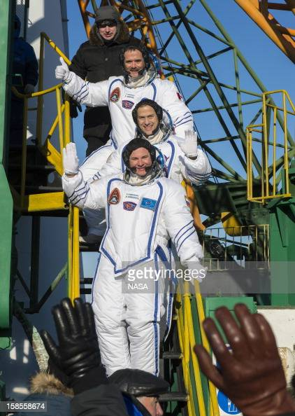 In this handout image provided by NASA Expedition 34 NASA Flight Engineer Chris Hadfield of the Canadian Space Agency NASA Flight Engineer Tom...