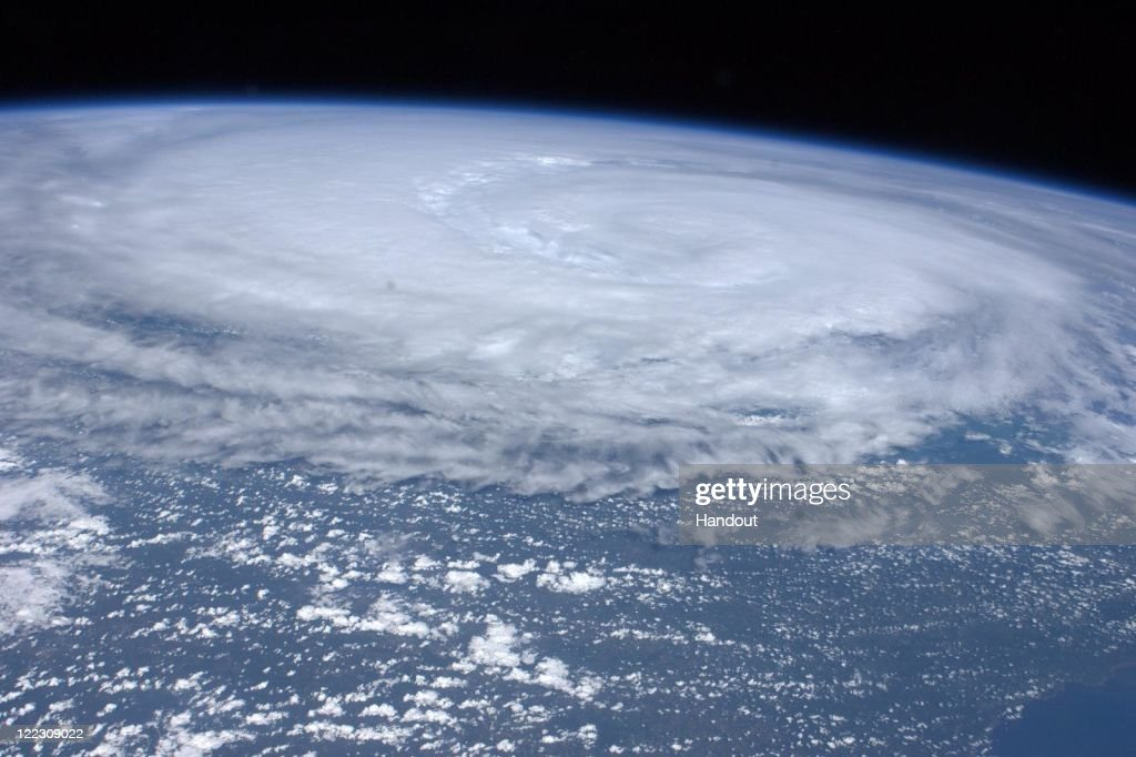 In this handout image provided by NASA, Hurricane Irene is seen from space from the International Space Station, as it churns off the east coast of the United States, August 26, 201, in the Atlantic Ocean. Irene, now a Category 1 storm, has started to lash the eastern coast of the U.S. with wind gust up to 125 miles per hour.