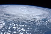 In this handout image provided by NASA Hurricane Irene is seen from space from the International Space Station as it churns off the east coast of the...