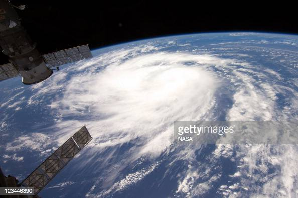 In this handout image provided by NASA Hurricane Katia is seen from aboard the International Space Station August 31 2011 in the Atlantic Ocean...