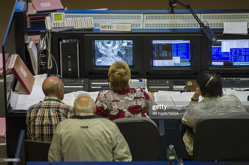 In this handout image provided by NASA, Russian flight controllers at the Russian Mission Control Center monitor the Soyuz TMA-04M as it docks to the International Space Station on May 17, 2012 in Korolev, Russia. Onboard the soyuz spacecraft are Expedition 31 Soyuz Commander Gennady Padalka, Flight Engineer Sergei Revin, and NASA Flight Engineer Joe Acaba. The crew of three launched at 9:01 a.m. Kazakhstan time on Tuesday, May 15 from the Baikonur Cosmodrome in Kazakhstan.