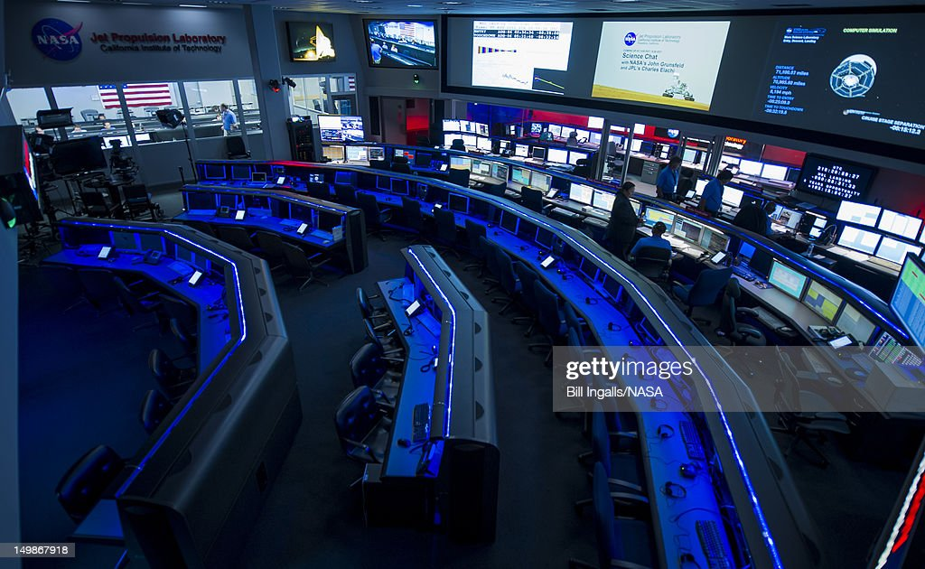 In this handout image provided by NASA the balcony of the control rooms at the Jet Propulsion Laboratory is viewed with the Dark Room in the...