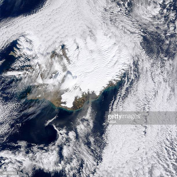 In this handout image provided by NASA The MODIS instrument on NASA's Terra satellite captured an Ash plume from Eyjafjallajokull Volcano over the...