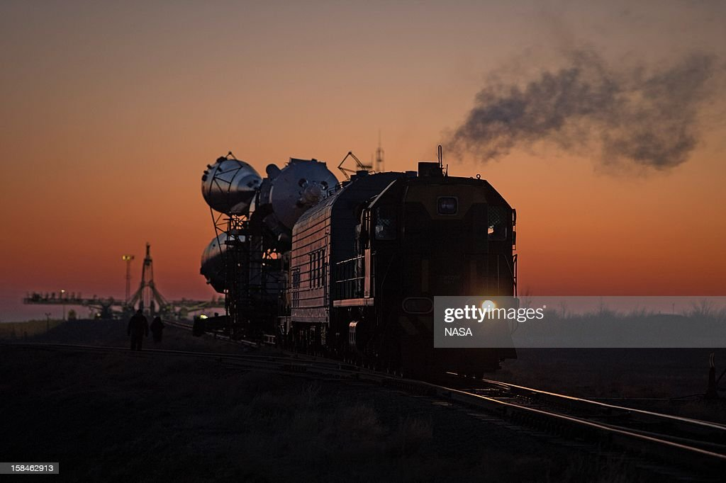 In this handout image provided by NASA, The Soyuz rocket is rolled out to the launch pad by train at the Baikonur Cosmodrome on December 17, 2012 on Baikonur, Kazakhstan. Launch of the Soyuz rocket is scheduled for December 19 and will send Expedition 34/35 Flight Engineer Tom Marshburn of NASA, Soyuz Commander Roman Romanenko and Expedition 35 Commander Chris Hadfield of the Canadian Space Agency (CSA) on a five-month mission aboard the International Space Station.