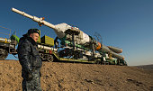 In this handout image provided by NASA the Soyuz rocket is rolled out to the launch pad by train on March 26 at the Baikonur Cosmodrome in Kazakhstan...