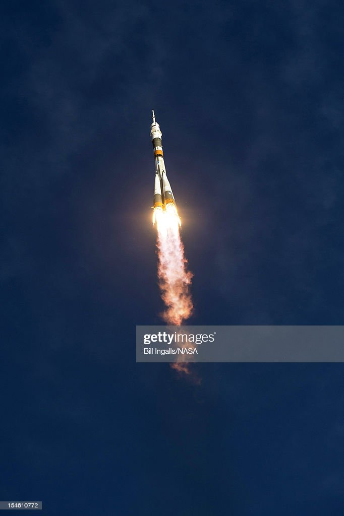 In this handout image provided by NASA, the Soyuz rocket with Expedition 33/34 crew members, Soyuz Commander Oleg Novitskiy, Flight Engineer Kevin Ford of NASA, and Flight Engineer Evgeny Tarelkin of ROSCOSMOS onboard the TMA-06M spacecraft launches to the International Space Station October 23, 2012 in Baikonur, Kazakhstan. Launch of the Soyuz rocket will send Ford, Novitskiy and Tarelkin on a five-month mission aboard the International Space Station.