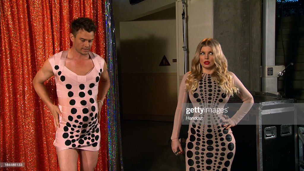 In this handout image provided by Nickelodeon, Josh Duhamel (L) and Fergie seen backstage at Nickelodeon's 26th Annual Kids' Choice Awards at USC Galen Center on March 23, 2013 in Los Angeles, California.