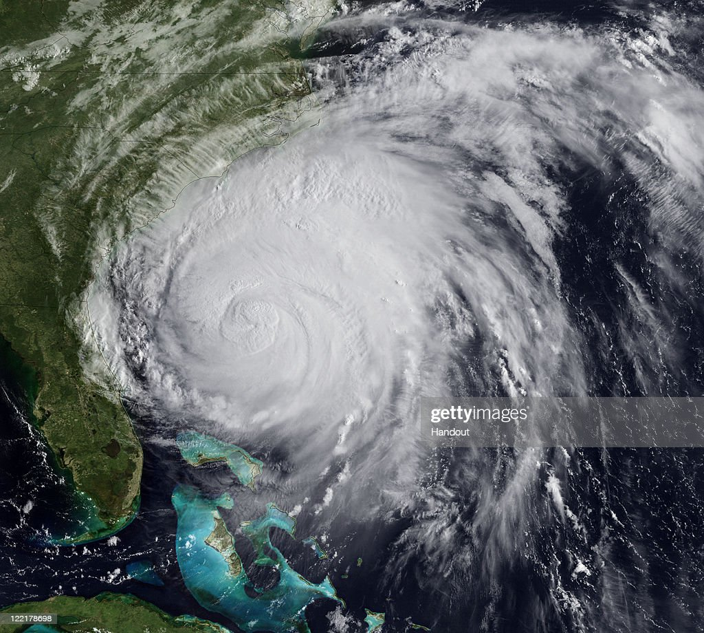 In this handout image provided by NOAA, Hurricane Irene churns of the cost of the Carolinas August 26, 2011 In the Atlantic Ocean. Irene, now a Category 2 storm, has started to lash the eastern coast of the U.S. with wind gust up to 125 miles per hour.