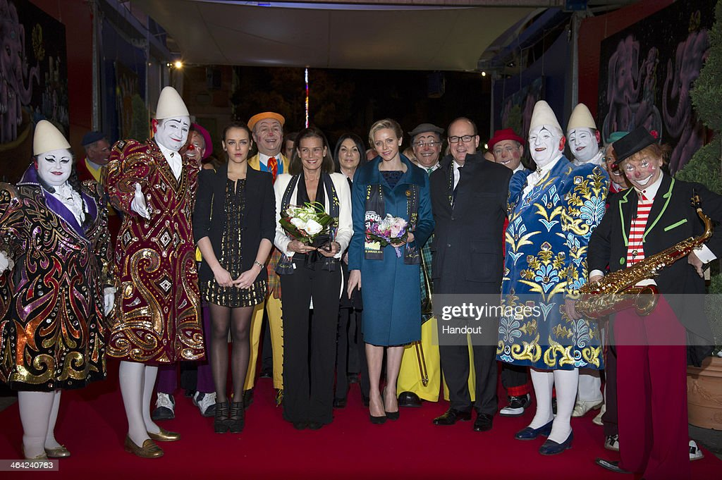 In this handout image provided by Palais Princier, (L-R) Pauline Ducruet, Princess Stephanie of Monaco, Princess Charlene of Monaco and Prince Albert II of Monaco attend the 38th International Circus Festival on January 21, 2014 in Monte-Carlo, Monaco.