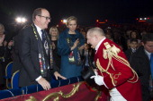 In this handout image provided by Palais Princier Prince Albert II of Monaco and Princess Charlene of Monaco attend the 38th International Circus...