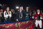 In this handout image provided by Palais Princier Princess Stephanie of Monaco Prince Albert II of Monaco and Princess Charlene of Monaco attend the...
