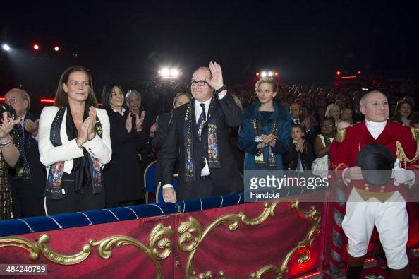 In this handout image provided by Palais Princier Princess Stephanie of Monaco Prince Albert II of Monaco and Princess Charlene of Monaco attend the...