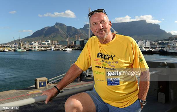 In this handout image provided by Philip Brown Sir Ian Botham poses in Cape Town on the eve of his latest fundraising walk the 'Beefy Walking the...