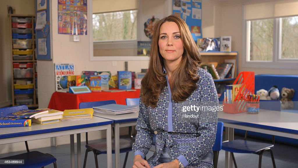 In this handout image provided by Place2Be, Catherine, Duchess of Cambridge and Royal Patron of Place2Be, is seen in a video message supporting Children's Mental Health Week. The Duchess of Cambridge has spoken of the importance of preventing children's problems becoming worse as they get older in a video message she has recorded to support the UK's first Children's Mental Health Week. In the message, Kate says that both she and her husband, the Duke of Cambridge, have seen that many children are struggling to cope with bullying, bereavement, family breakdown and other issues, which can often lead to depression, anxiety, addiction and self-harm. She adds that stigma around mental health means that many children do not get the help they so badly need and this needs to change. The Duchess makes the comments in an online video for Place2Be, which provides emotional help and support in schools.