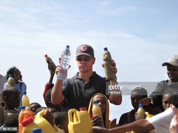 In this handout image provided by PMK/HBH ONEXONE Foundation Ambassador actor Matt Damon visits a well just outside Mekele Ethiopia on April 20 2009...