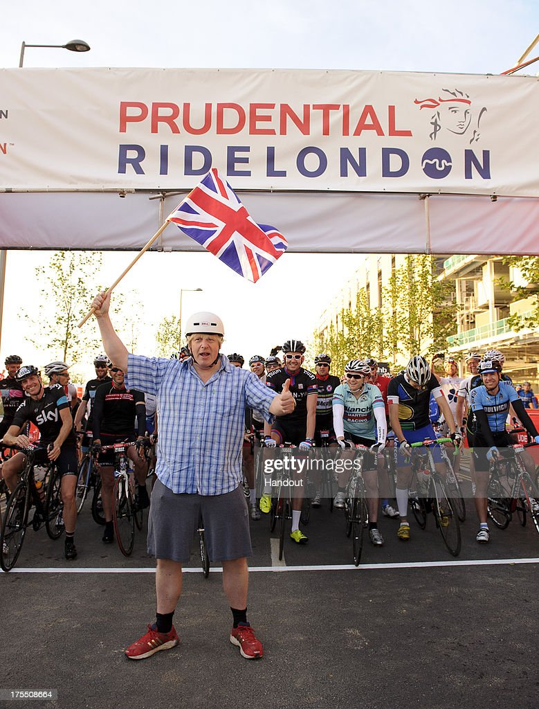 In this handout image provided by Prudential Ride London, Mayor of London, <a gi-track='captionPersonalityLinkClicked' href=/galleries/search?phrase=Boris+Johnson&family=editorial&specificpeople=209016 ng-click='$event.stopPropagation()'>Boris Johnson</a> starts the Prudential RideLondon-Surrey 100 race at the Queen Elizabeth Olympic Park on August 4, 2013 in London, England.