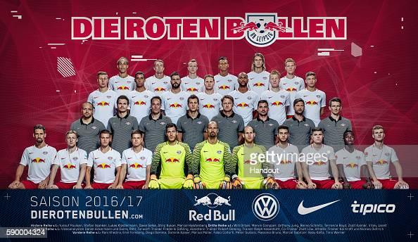 In this handout image provided by RB Leipzig Yussuf Poulsen Stefan Ilasanker Lukas Klostermann Davie Selke Atinc Nukan Marcel Halstenberg Willi Orban...