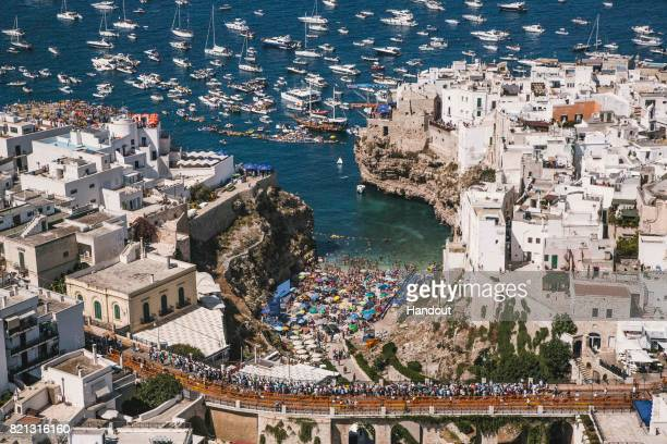 In this handout image provided by Red Bull A view from a helicopter of the event venue during the third stop of the Red Bull Cliff Diving World...