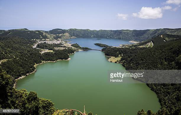 In this handout image provided by Red Bull a view of the Green Lake and the Blue Lake on Sao Miguel during the fifth stop of the Red Bull Cliff...