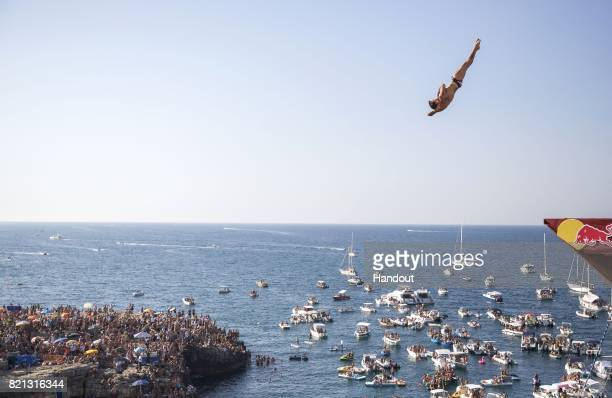 In this handout image provided by Red Bull Alessandro De Rose dives from the 27 platform during the third stop of the Red Bull Cliff Diving World...