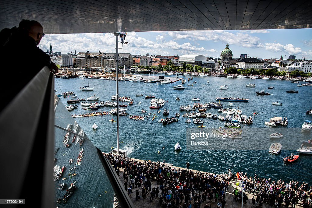 In this handout image provided by Red Bull, Blake Aldridge of the UK dives from the 28 metre platform on the Copenhagen Opera House during the fourth stop of the Red Bull Cliff Diving World Series, Copenhagen, Denmark.