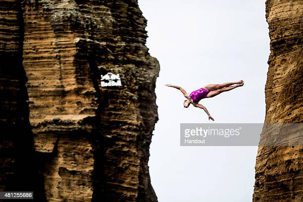 In this handout image provided by Red Bull Cesilie Carlton of the USA dives from the 20 metre platform during the fifth stop of the Red Bull Cliff...